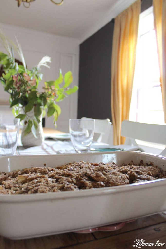 Homemade Apple Crisp Recipe on Fall Dining Table