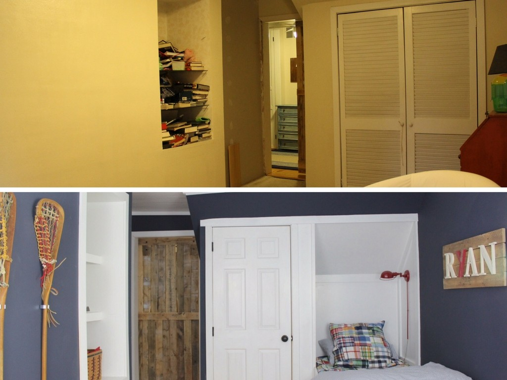 Stop by to see all the progress we made for our farmhouse fixer upper! built in blue bedroom