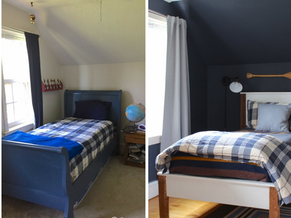 Stop by to see all the progress we made for our farmhouse fixer upper! navy bedroom