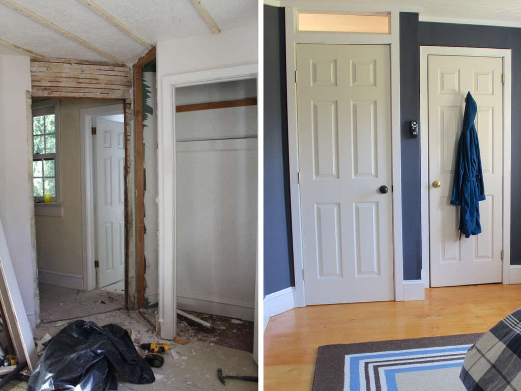 Stop by to see all the progress we made for our farmhouse fixer upper! navy bedroom hallway