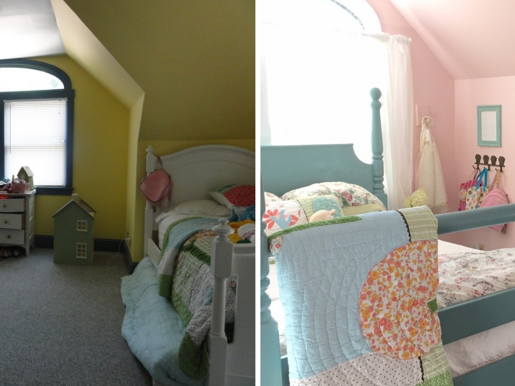 Stop by to see all the progress we made for our farmhouse fixer upper! girl's bedroom