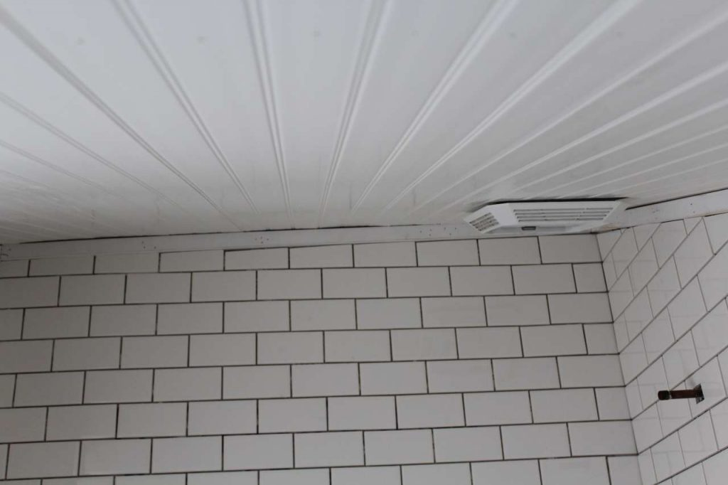 DIY PVC Bead Board Ceiling over bathtub