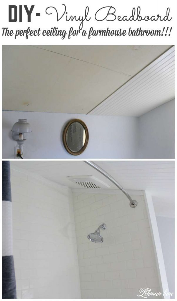 If you are thinking about adding a beadboard ceiling to your bathroom, why not try vinyl beadboard? Stop by to see how it turned out!!! #diy #beadboard http://lehmanlane.net