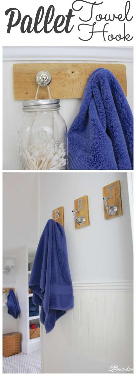 We created 2 DIY pallet towel racks for our boys bathroom #bathroom #palletprojects http://lehmanlane.net