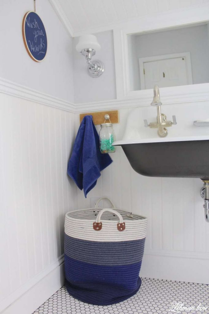 We transformed our boys bathroom from top to bottom - sherwin williams spatial white, vinyl bead board ceiling and walls and brockway sink #bathroom http://lehmanlane.net