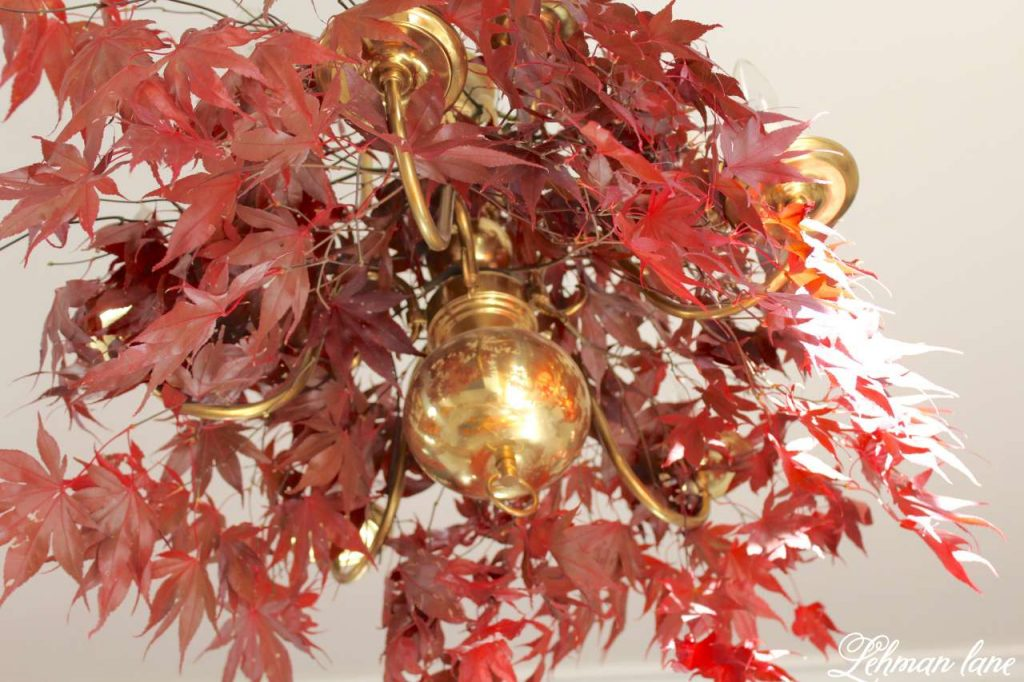 Quick and Simple Thanksgiving Table Setting = decorating in under 10 mins - create & share challenge - Lehman lane - maple leaves chandelier