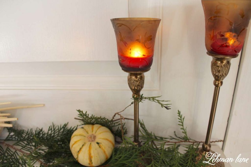 Quick and Simple Thanksgiving Table Setting = decorating in under 10 mins - create & share challenge - Lehman lane - fireplace mantel