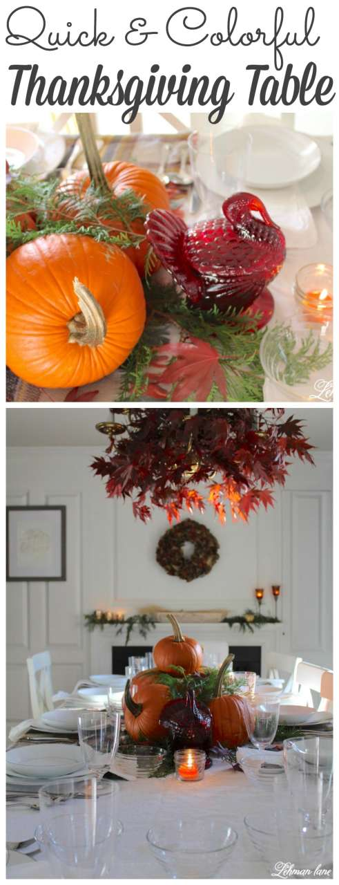 I set my Thanksgiving table in less than 10 minutes for FREE.  Stop by to see how I did it as well as more quick decorating ideas from my friends for the create and share challenge #thanksgiving #fall http://lehmanlane.net