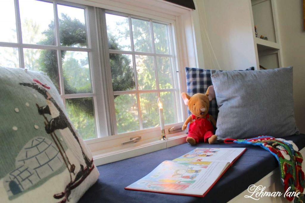 A Very Farmhouse Christmas Home Tour - Tucker room - window seat
