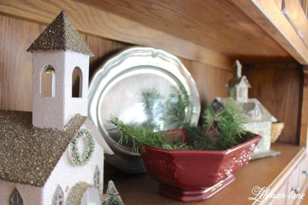 A Very Farmhouse Christmas Home Tour - dining room hutch