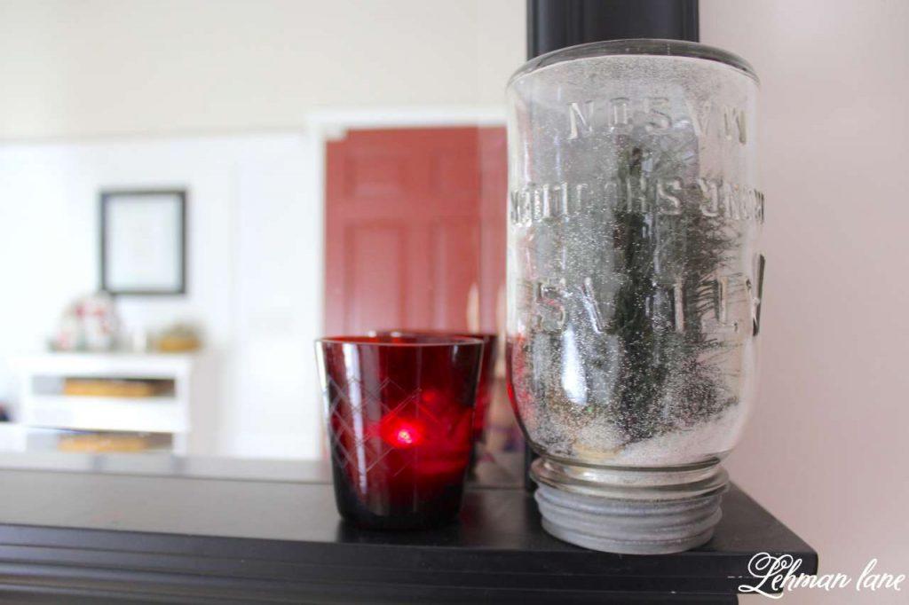 A Very Farmhouse Christmas Home Tour - entrywar mirror, mason jar snow globe