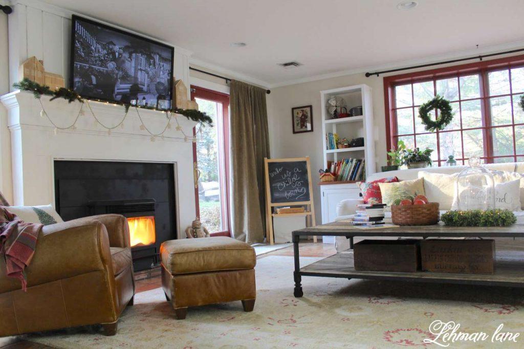 A Very Farmhouse Christmas Home Tour - sofa and fireplace