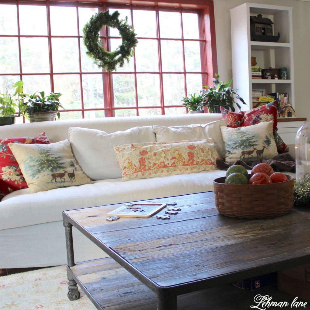 A Very Farmhouse Christmas Home Tour - restoration hardware sofa