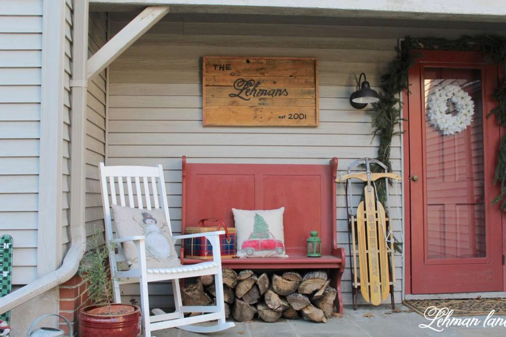 Christmas Front Porch - red bench, white rocker, front porch