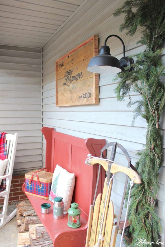 Christmas Front Porch - red bench, pallet sign. farmhouse light