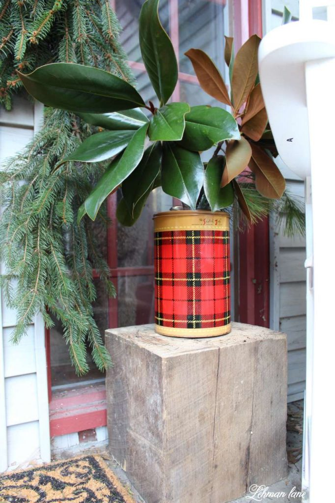 Christmas Front Porch - tartan thermos