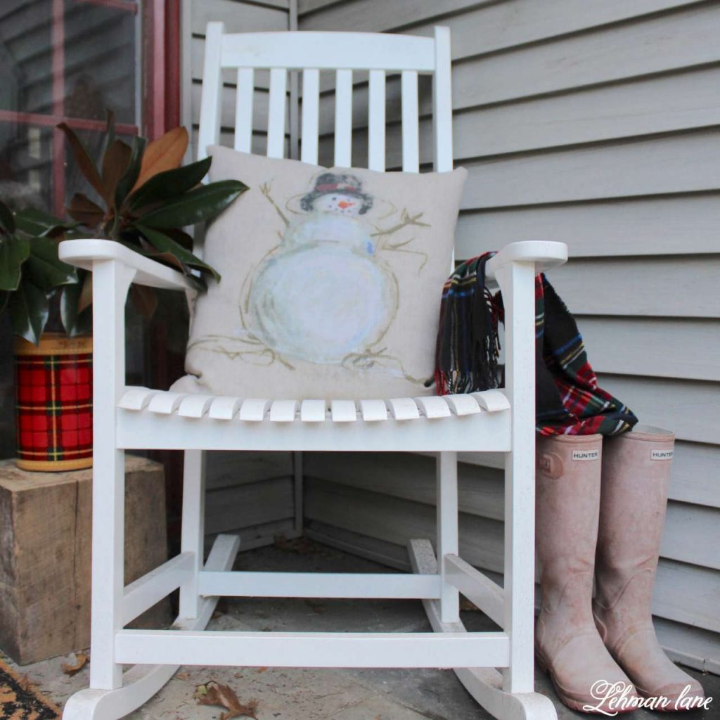 Christmas Front Porch - white rocker, snowman pillow