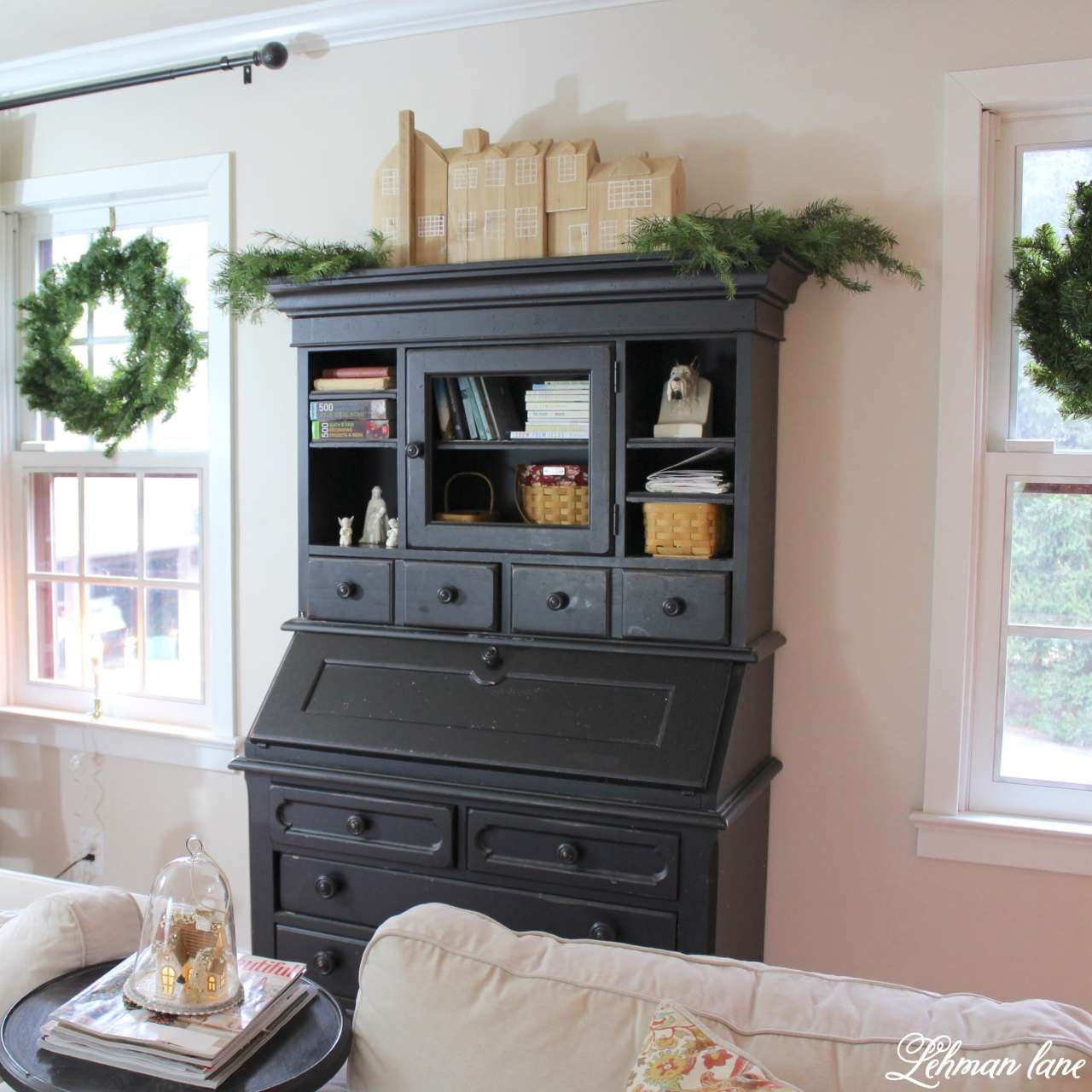 Christmas Living Room - Very Merry Christmas Tour - black secretary and wreaths on windows