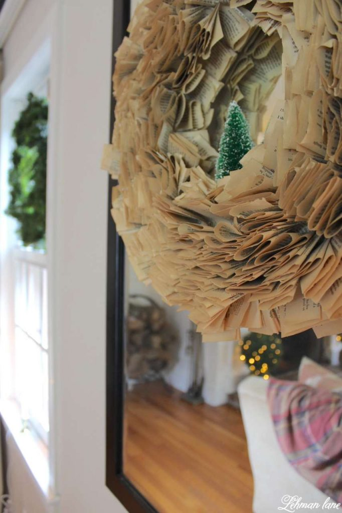 Christmas Living Room - Very Merry Christmas Tour - book page wreath