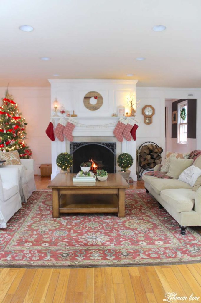 Christmas Living Room - Very Merry Christmas Tour - living room fireplace