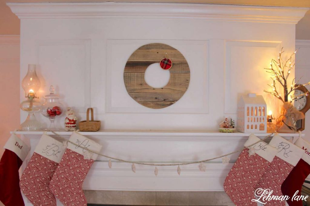 Christmas Living Room - Very Merry Christmas Tour - fireplace mantel and stockings