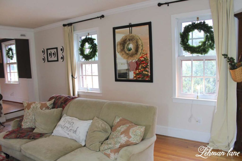 Christmas Living Room - Very Merry Christmas Tour - green wreaths in windows