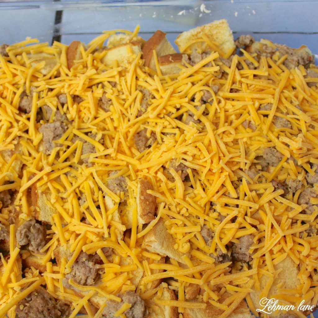 Egg and Sausage Casserole Recipe - This is our family's favorite holiday breakfast recipe - shredded cheese