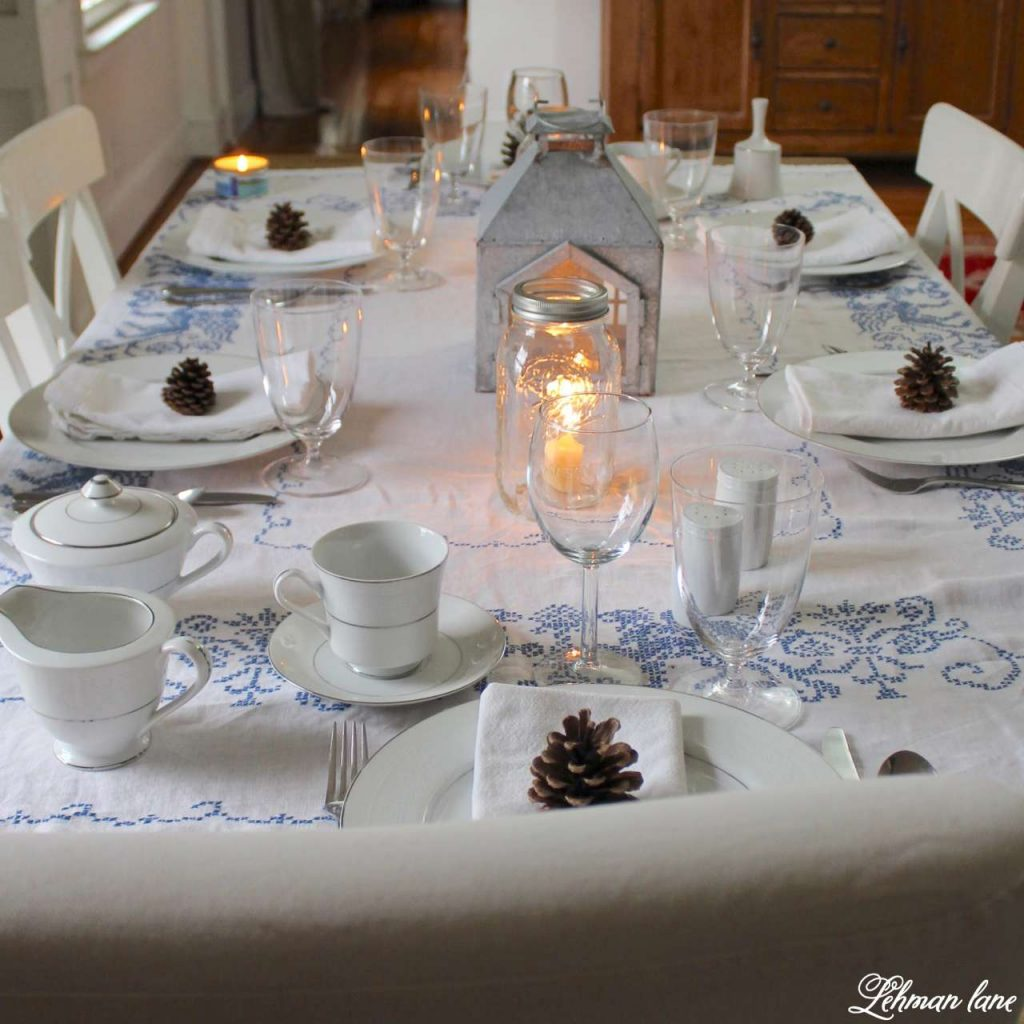 Decorating a Winter Table