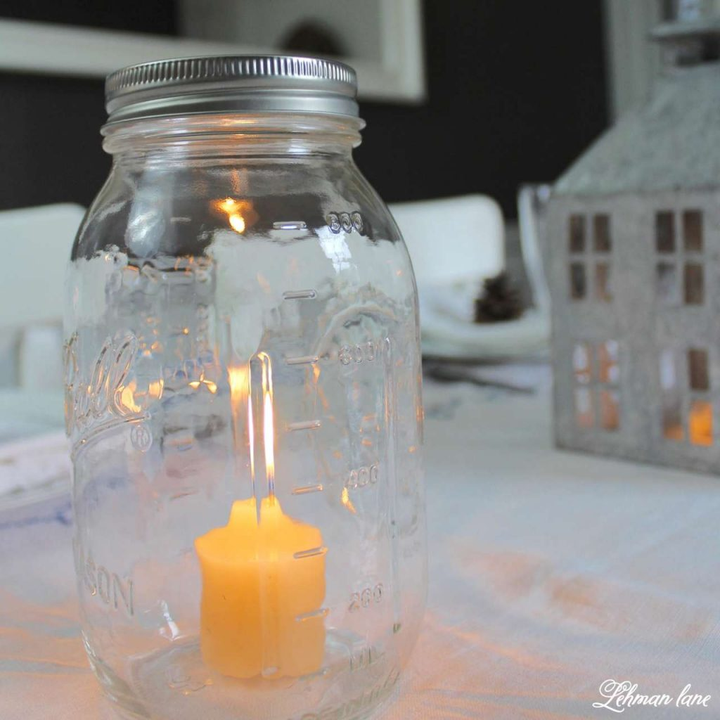 Decorating a Winter Table - candle in ball jar
