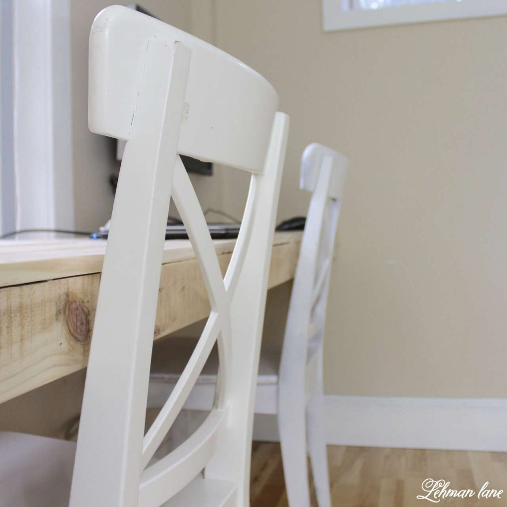 DIY Pallet Desk with white chairs