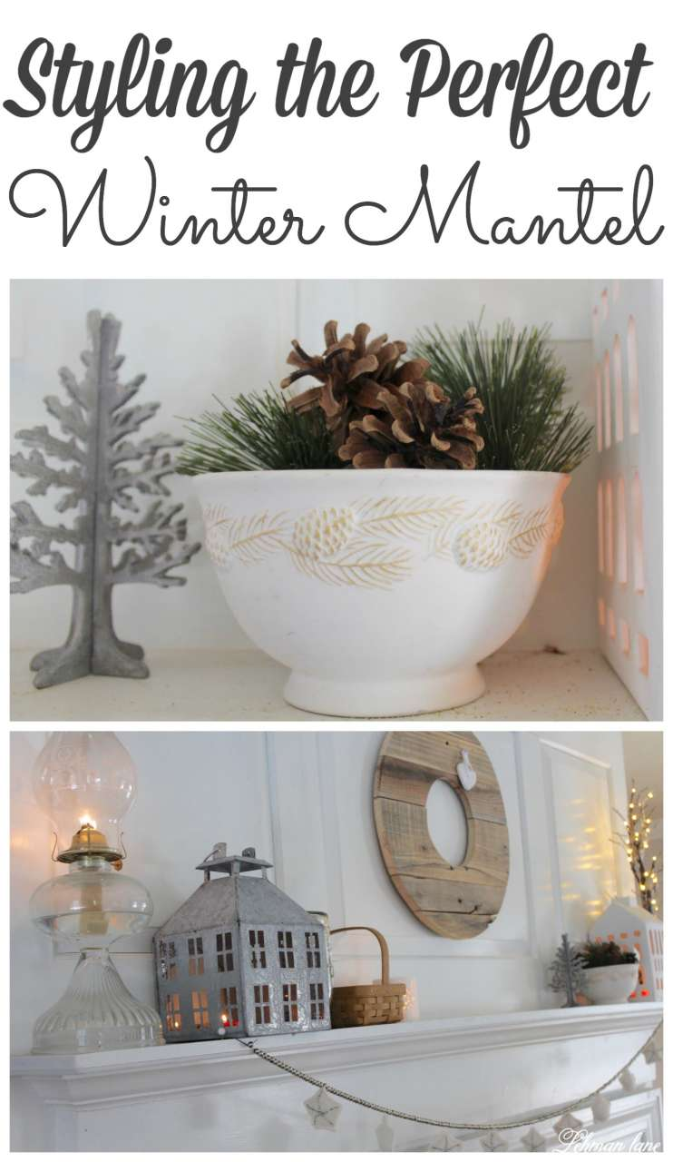 Stop by to see how I transition our fireplace mantel from Christmas to wintertime! #winter #manteldecor http://lehmanlane.net