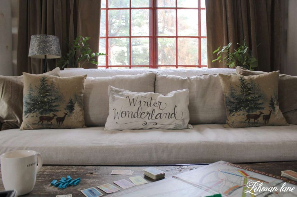 Winter Home Tour - restoration hardware sofa, pottery barn pillows