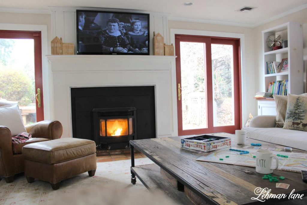 Winter Home Tour - family room fireplace, coffee table