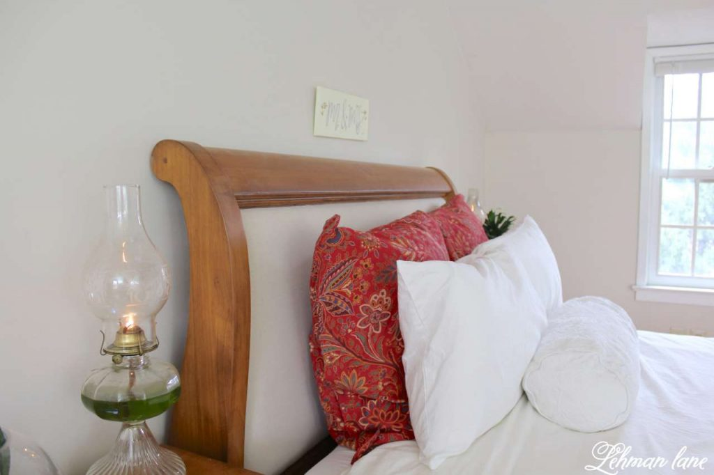 Winter Home Tour - master bedroom and oil lantern