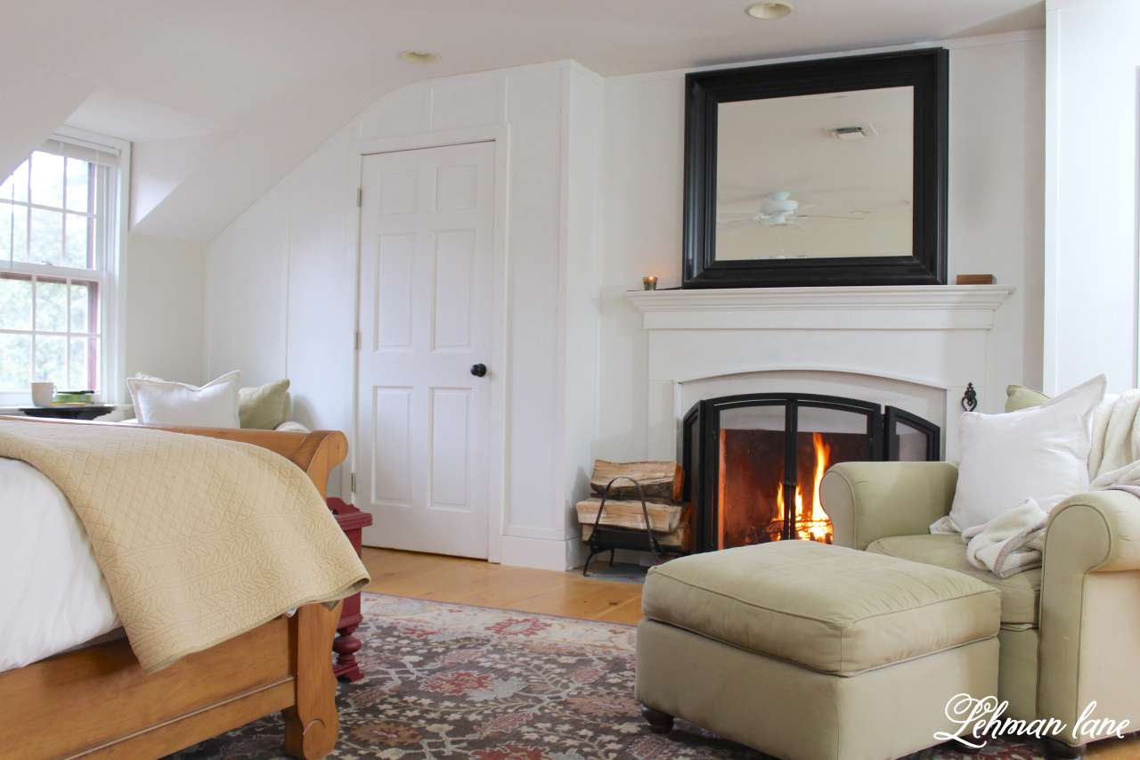 Winter Home Tour - master bedroom and fireplace and bed