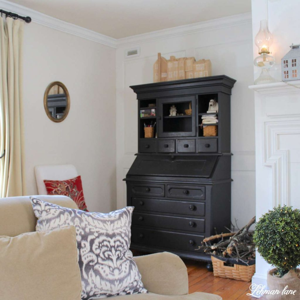 WInter Home Tour - black secretary, fireplace