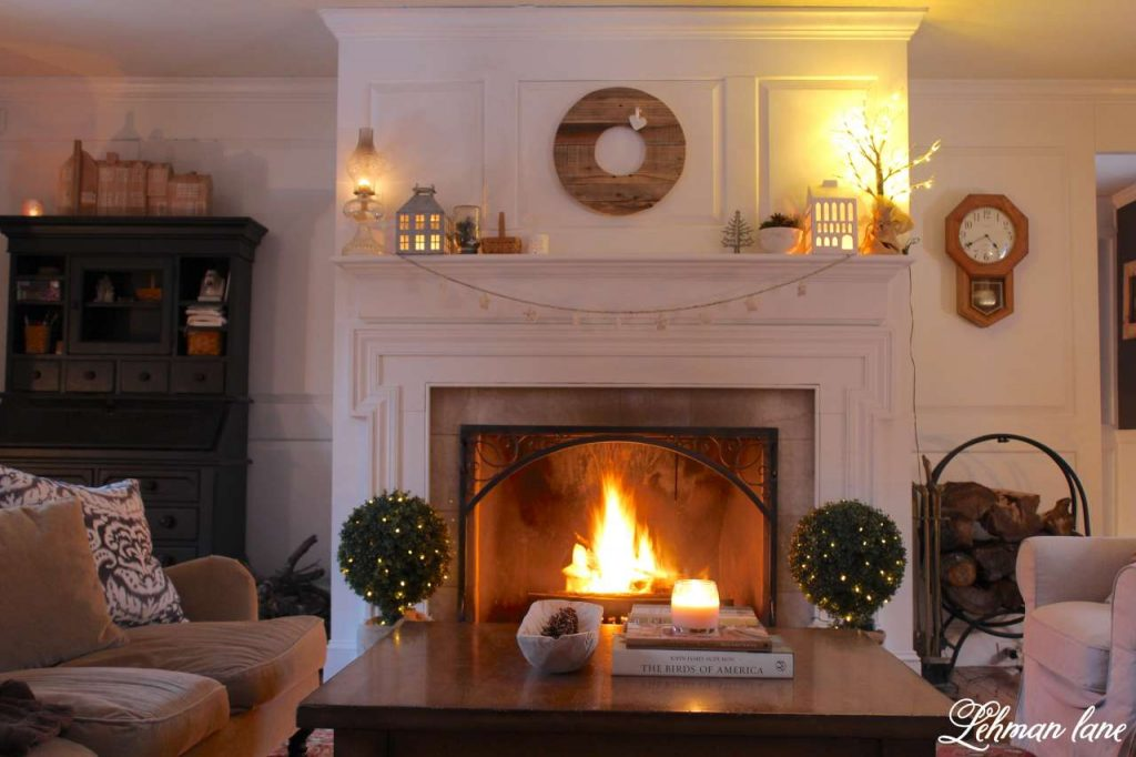 Winter Mantel Decor at NIght