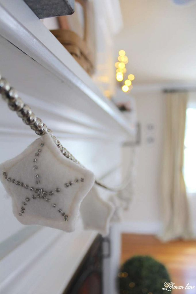 winter mantel - star garland