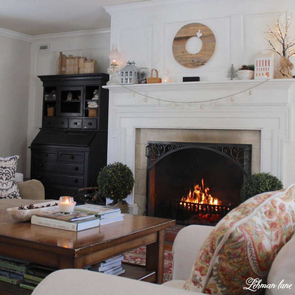 Winter Home tour - living room - black secretary