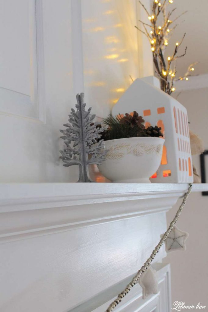 Winter Mantel Decor - fireplace mantel