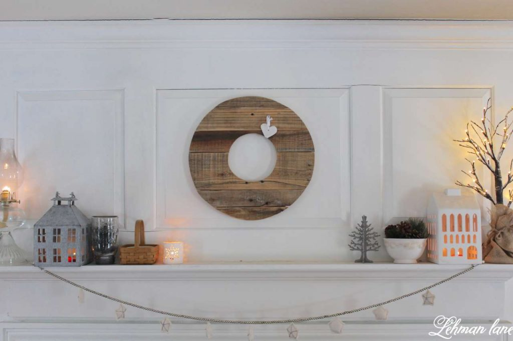 Winter Fireplace Mantel - Pallet wreath, candle houses, white decor