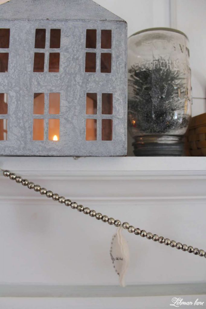 Winter Mantel - zinc house and ball jar