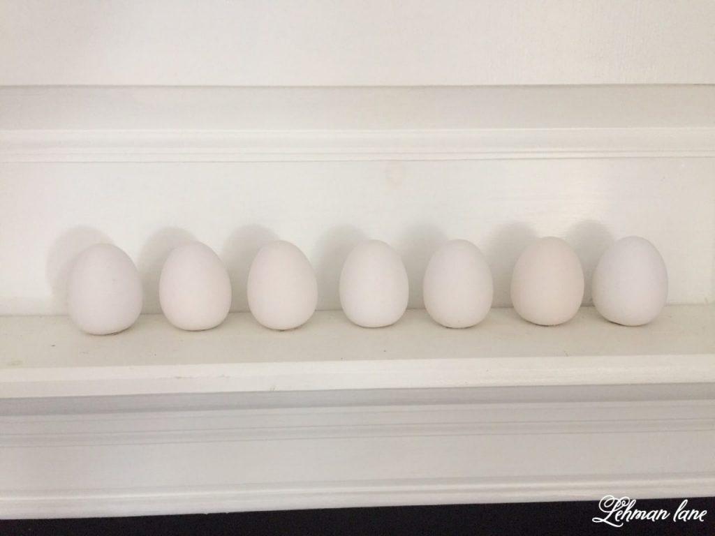 DIY - Speckled Eggs - white eggs on mantel