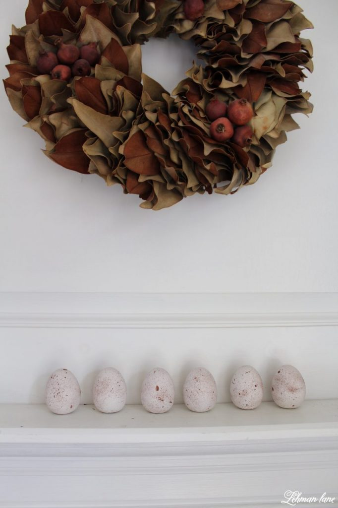 DIY - Speckled Eggs on dining room mantel
