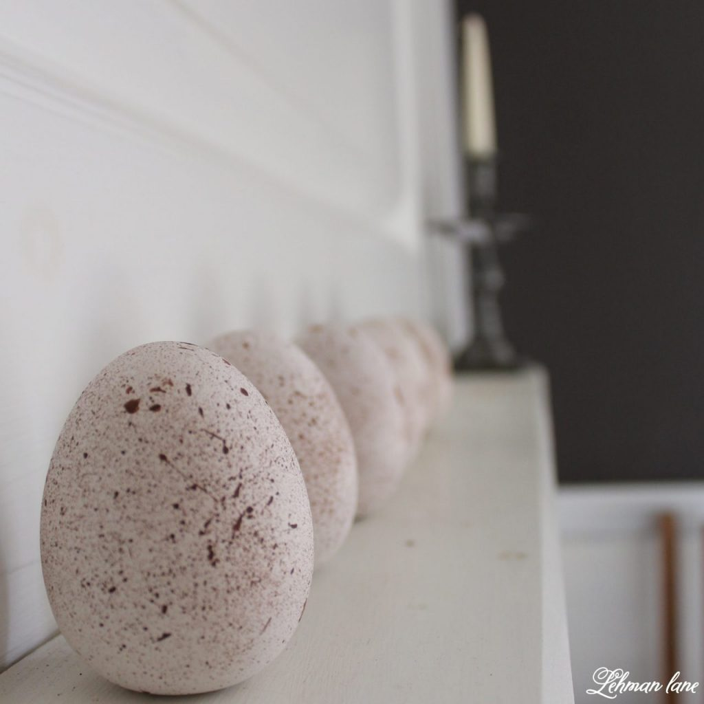 DIY - Speckled Eggs on mantel