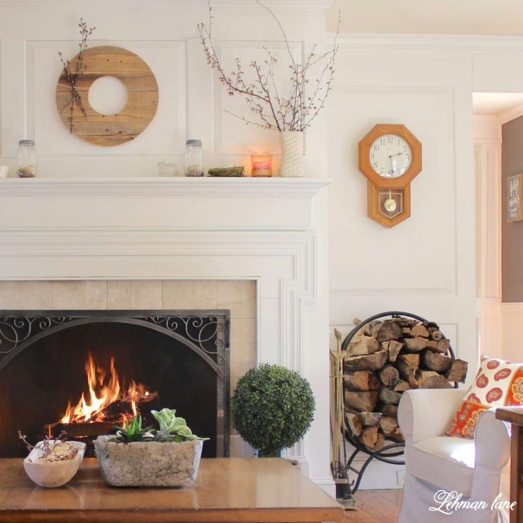 Simple Spring Mantel - living room fireplace mantel