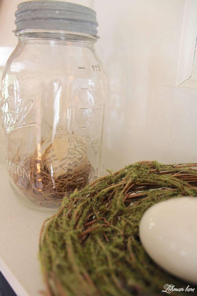 Simple Spring Mantel- ball jar, nest