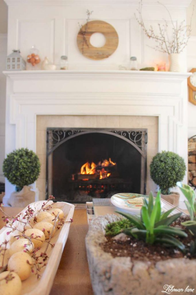 Simple Spring Mantel - fireplace