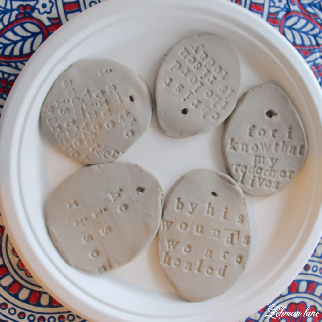 Stick Tree and Clay Ornaments for Easter - air drying on paper plate