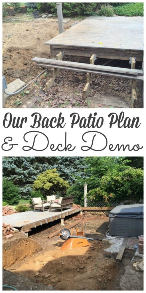 Sharing our plan for creating a sunken brick patio and how we took down our deck #demo #deckdemo http://lehmanlane.net